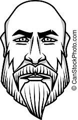 kaal, het kijken, ernstig, baard mustache, man