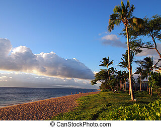 Kaanapali Beach at Dusk with trees and Lanai in the distance