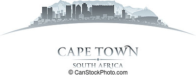 kaapstad, zuid-afrika, stad skyline, silhouette., vector,...