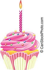 kaarsje, burning, cupcake