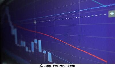 kaarsje, grafiek, diagrammen, van, beursmarkt
