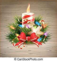 kaarsje, illustration., eps, tien, kerstmis