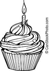 kaarsje, jarig, burning, cupcake
