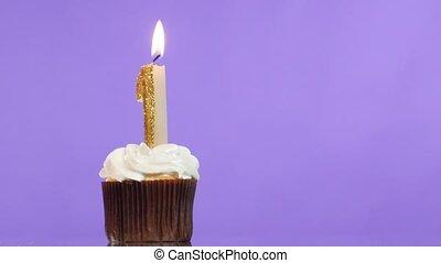 kaarsje, jarig, getal, one., cupcake