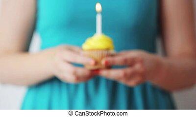 kaarsje, jarig, vrouw, burning, cupcake