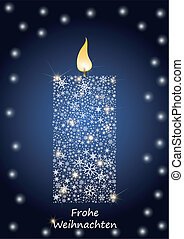 kaarsje, kerstmis, burning