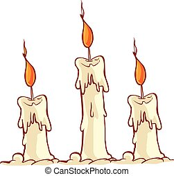 kaarsje, vector, illustratie, burning, spotprent