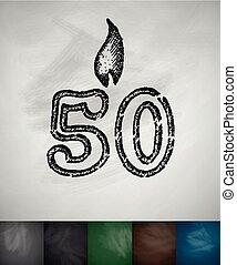 kaarsje, vijftig, pictogram