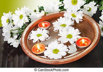 kaarsjes, bloemen, kom, aroma