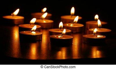 kaarsjes, branden, nacht, romantische, scented,...