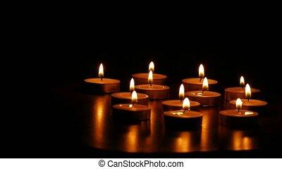 kaarsjes, branden, romantische, scented, alsnog-leven,...