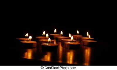 kaarsjes, branden, scented, romantische, kaarsje,...