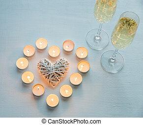 kaarsjes, champagne, twee, bril