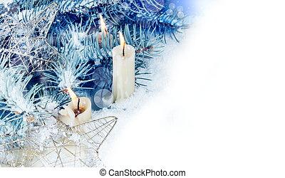 kaarsjes, horizontaal, grens, kerstmis