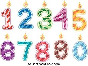 kaarsjes, jarig, getallen