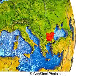 kaart, 3d, bulgarije, aarde