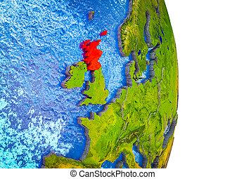 kaart, 3d, schotland, aarde