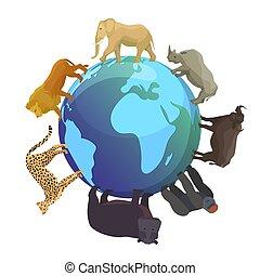 kaart, aap, illustration., dieren, continenten, concept, lion., globe, fauna, beer, animals., planeet, wild, vector, fauna, elefant, wereld, spandoek, dag, ongeveer