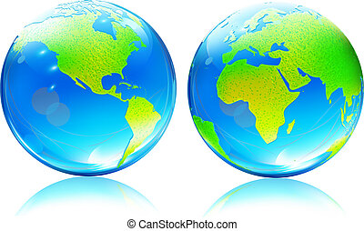kaart, aarde, bollen, glanzend