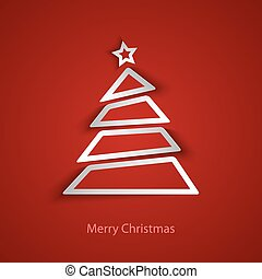 kaart, abstract, boompje, kerstmis, mal