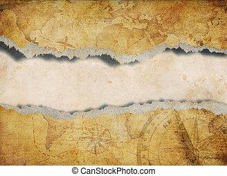 kaart, afgescheurde, oud, gescheurd, achtergrond, of