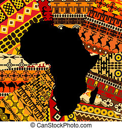 kaart, afrika, achtergrond, ethnische