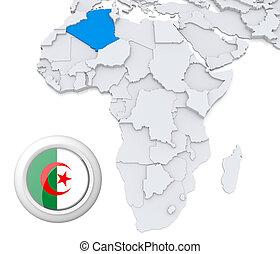 kaart, afrika, algerije