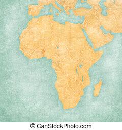 kaart, -, afrika, benin