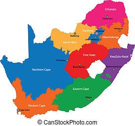 kaart, afrika, zuiden