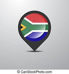 kaart, afrika, zuiden, spelden