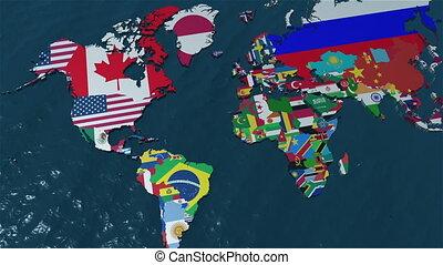 kaart, amerika, 3d, zuiden, wereld