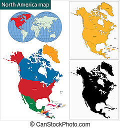 kaart, amerika, noorden