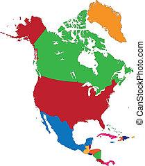 kaart, amerika, noorden, kleurrijke