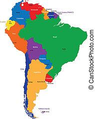 kaart, amerika, zuiden