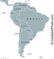 kaart, amerika, zuiden, landen
