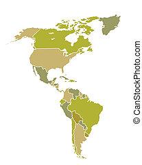 kaart, amerikaan, noord zuiden, landen