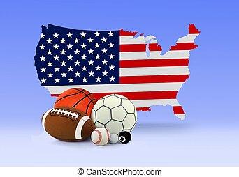 kaart, amerikaan, sportende, gelul