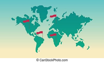 kaart, animatie, vlaggen, rood, wereld, hd