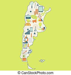 kaart, argentina's, technologie