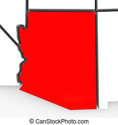 kaart, arizona, abstract, staten, staat, verenigd, amerika, rood, 3d