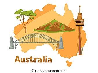 kaart, australië, attractions., toerist, illustratie