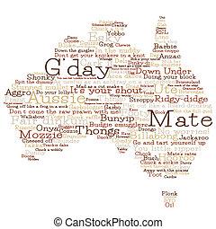 kaart, australië, format., vector, woorden, australiër, ...