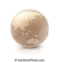 kaart, australië, &, globe, azie, hout, illustratie, 3d
