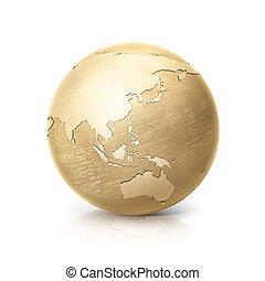 kaart, australië globe, illustratie, azie, messing, 3d