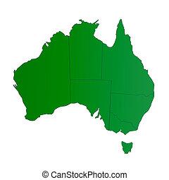 kaart, australië, groene, vrijstaand