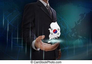 kaart, australië, het tonen, achtergrond, zakenman, globe