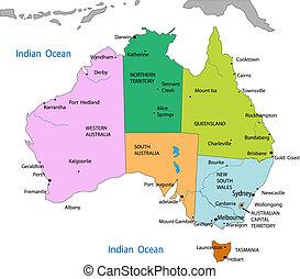 kaart, australië, politiek