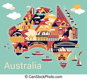 kaart, australië, spotprent