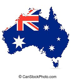 kaart, australië, vector, illustratie, creatief