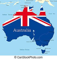 kaart, australiër, continent